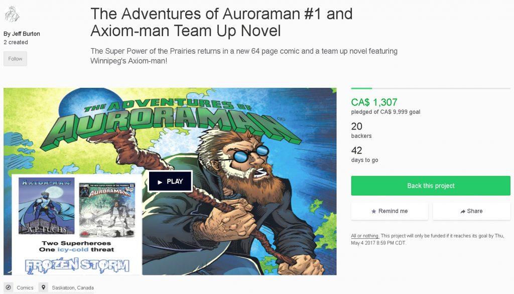 Axiom-man/Auroraman Kickstarter Page